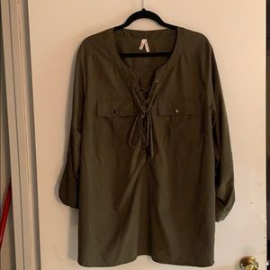 Tops - Olive green tie up blouse